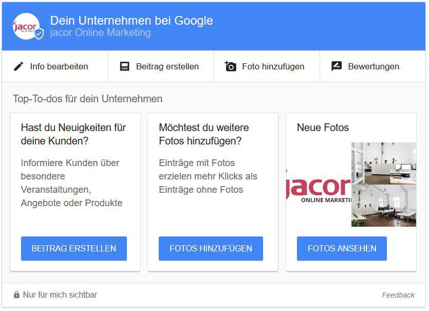 Google My Business in den Suchergebnissen bearbeiten